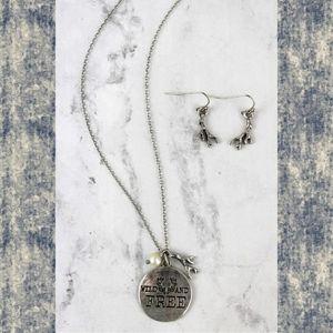 Boho Hippie wild & free antlers earring necklace